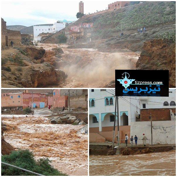 أكلو: إرتفاع منسوب المياه بوادي « أدودو » جراء التساقطات المطرية ( صور + فيديو )