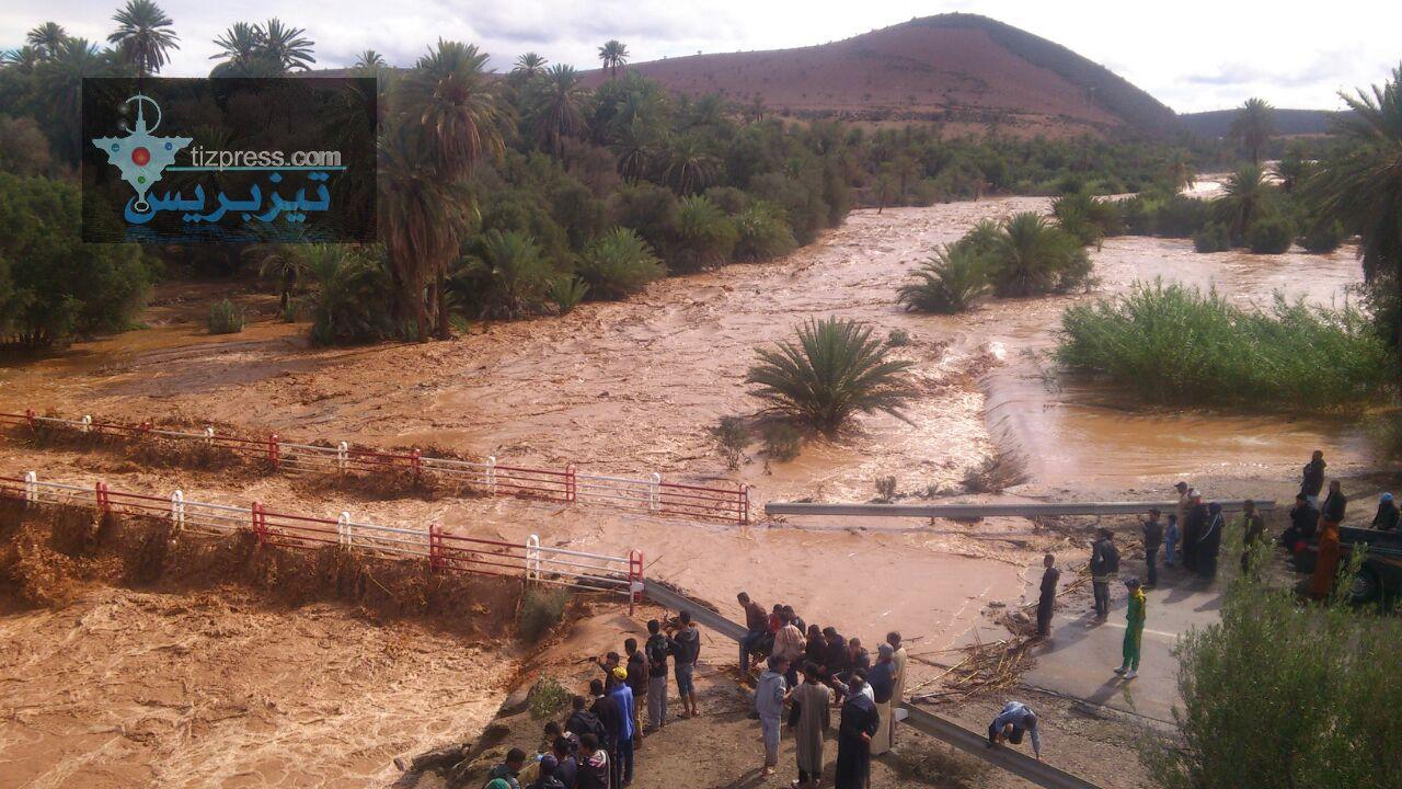 وجان :  واد « أسكا » ينتعش و يحمل كميات كبيرة من المياه إلى سد يوسف بن تاشفين ( فيديو + صور )