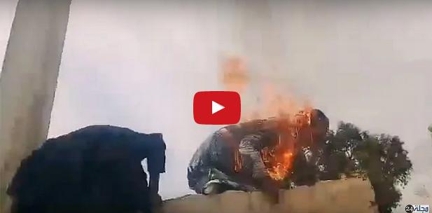 بالفيديو : احتجاجاً على إفراغها من مسكنها… سيدة تضرم النار في جسدها