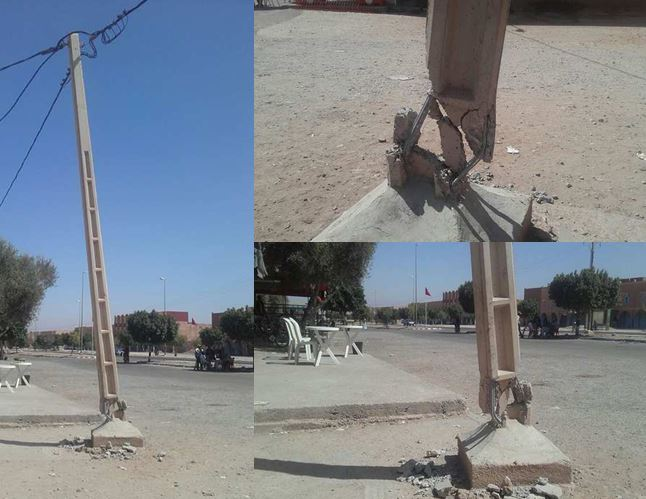 بالصور : عمود كهربائي آئل للسقوط يشكل خطرا على حياة المواطنين بأولاد جرار