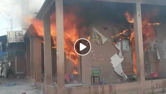 فيديو : حريق ضخم يلتهم محلات تجارية وسط مدينة تافراوت