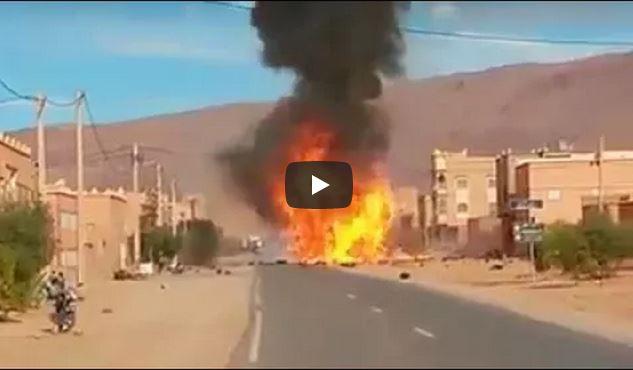 فيديو : انفجارات قوية لشاحنة محملة بقنينات الغاز بتنغير
