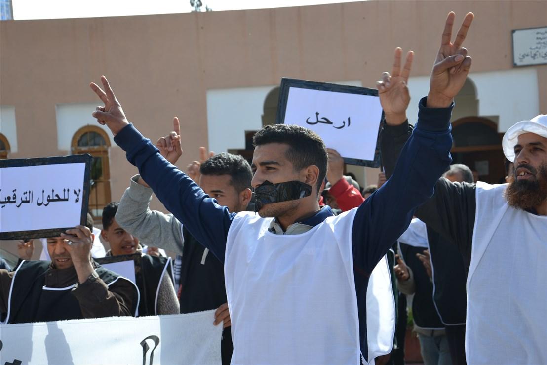 تيزنيت :مسيرة و وقفة احتجاجية لتنسيقية الباعة المتجولين تستنفر الأجهزة الأمنية بالمدينة