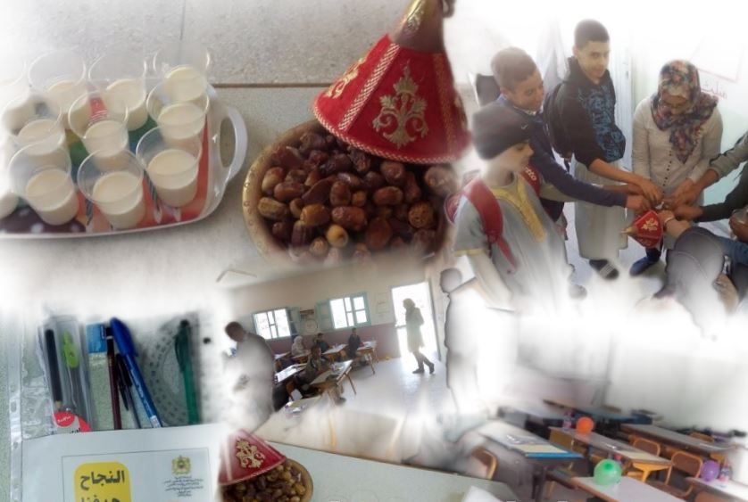 أيت إسفن :امتحان السادس الإشهادي .. مركز ألكوز التابع لم.م البيروني يستقبل المترشحات والمترشحين بالتمر و الحليب ( صُور )