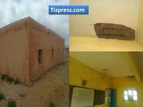 alt - مركزية مجموعة مدارس تجاجت بجماعة سبت النابور نيابة سيدي إفني تعيش وضعية مزرية وسقفها مهدد بالسقوط