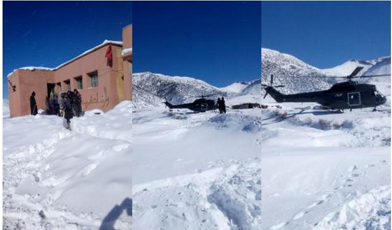 مروحية الدرك تنقذ أساتذة اختنقوا ومحاصرين بالثلوج بأزيلال