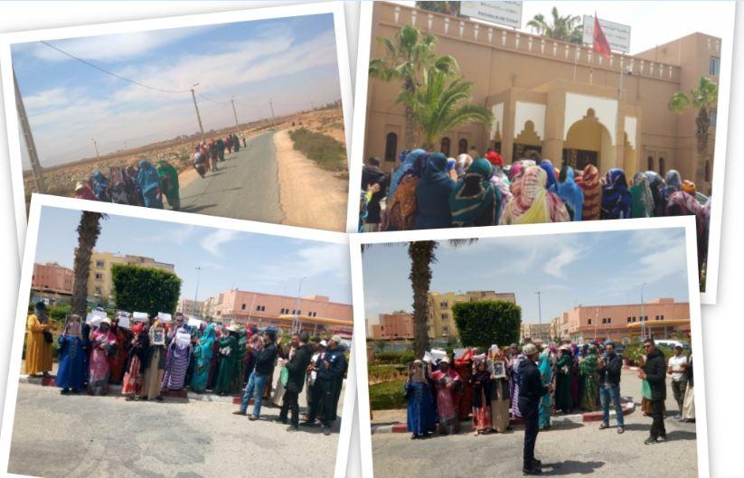 تيزنيت : بالصور …نساء حي تمدغوست ينظمن مسيرة سلمية ووقفة احتجاجية أمام باشوية المدينة
