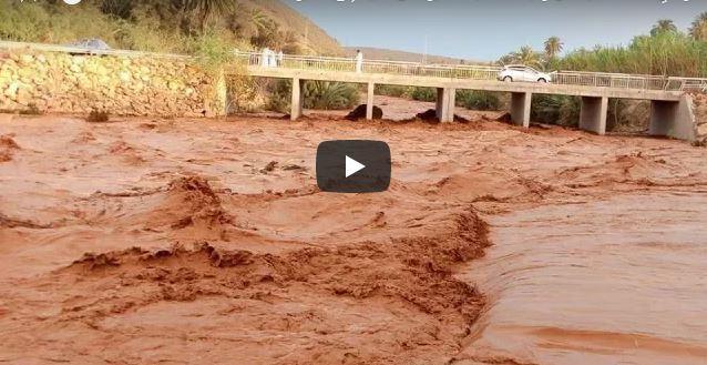 فيديو ..وادي « أسكا » ينتعش و يحمل كميات كبيرة من المياه إلى سد يوسف بن تاشفين