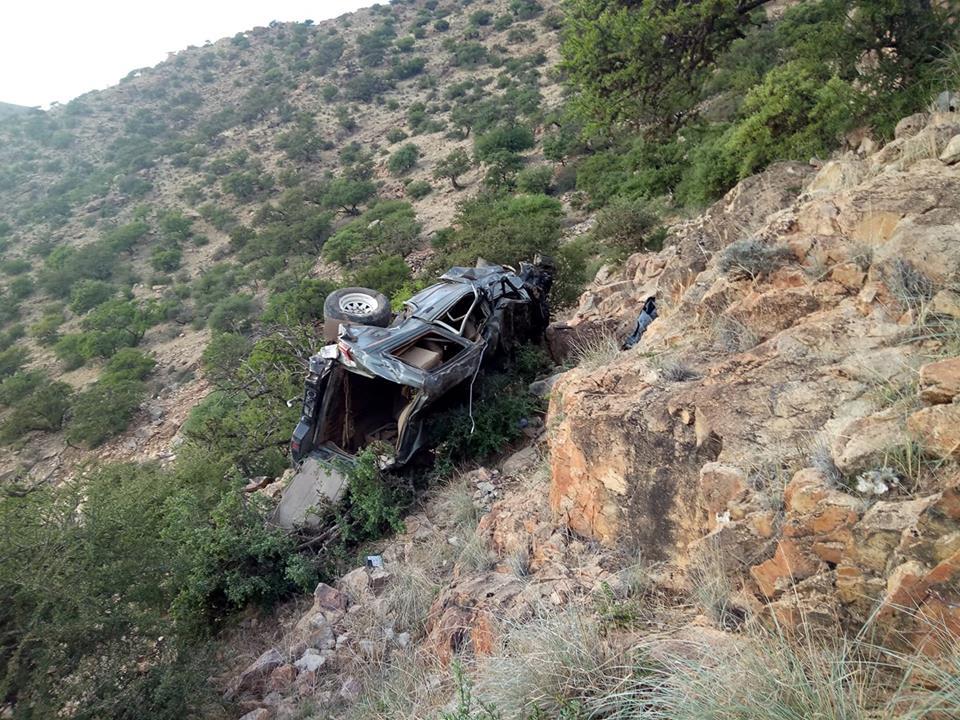 """سيدي إفني : مصرع ثلاثة أشخاص وإصابة اثنين في حادث سقوط سيارة رباعية الدفع بمنحدر """" اكني امغارن"""""""