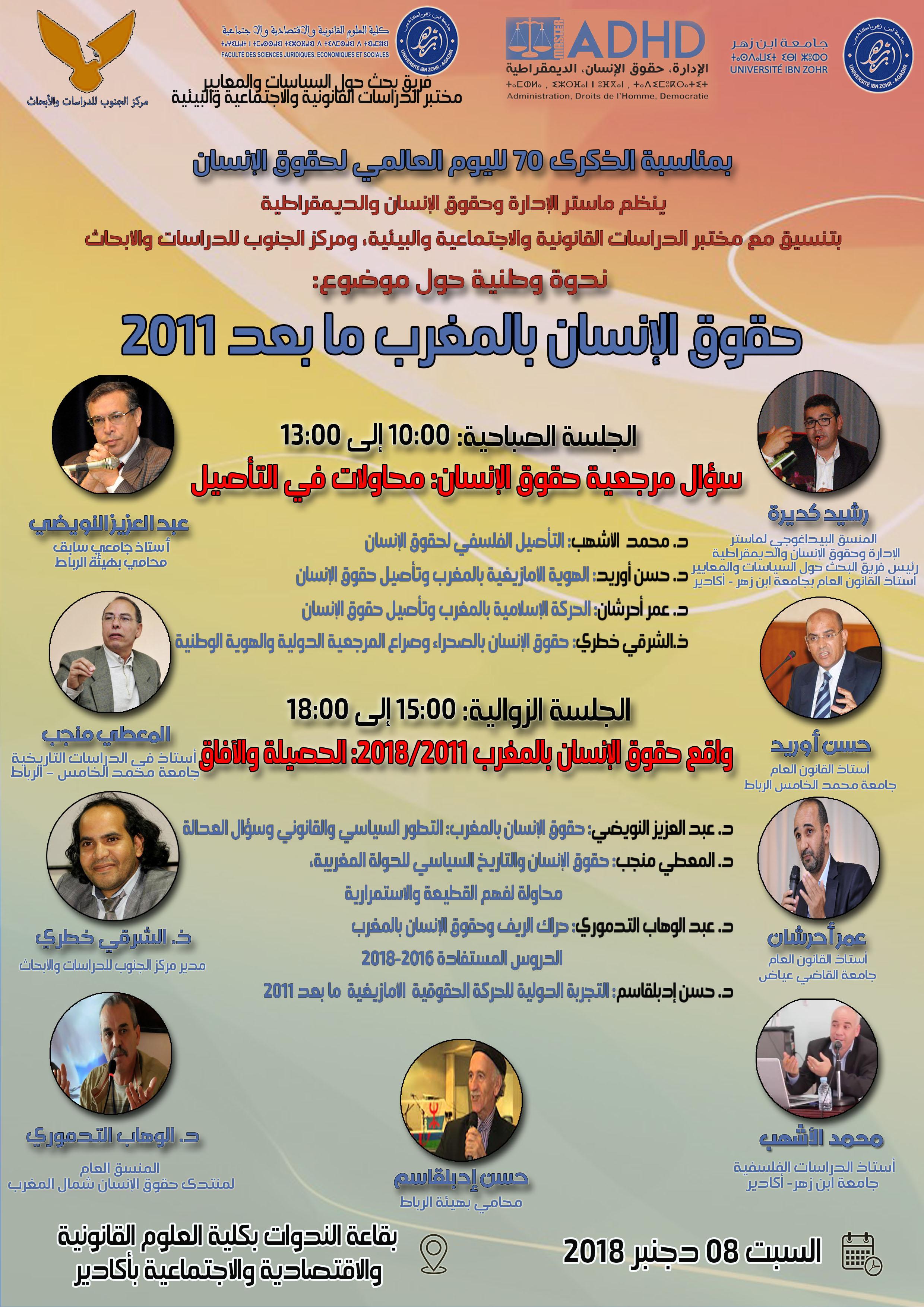 أكادير: ماستر الإدارة وحقوق الإنسان والديمقراطية يبحث في تأصيل حقوق الإنسان ويسائل حصيلتها وآفاقها في مغرب ما بعد 2011