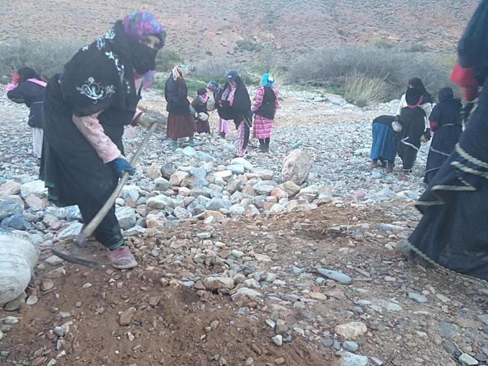 تيزنيت : بعد عجز المسؤولين… تافراوتيات يعبدن طريقا جبليا لفك العزلة عن قريتهن