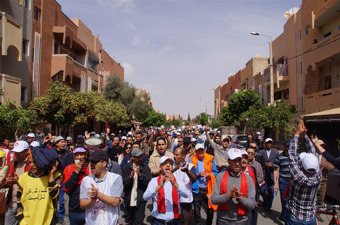 تيزنيت : أول أيام الإضراب ..لا صوت يعلو فوق صوت احتجاج الاساتذة