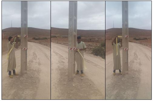 سيدي إفني : بالصور.. سلوك حضاري لشاب تجاه عمود كهربائي يهدد حياة السائقين وسط الطريق