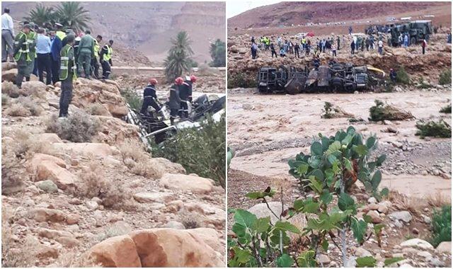 الراشدية : انقلاب حافلة بسبب السيول والحصيلة الأولية وفاة 6 أشخاص وإنقاذ 27 آخرين
